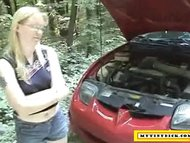 Mature Blond Sucking Dick For Car Repair