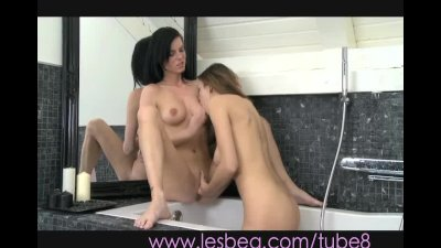 Lesbea Couple get intimate in bathroom