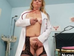 Preview 2 of Filthy Mature Lady Toys Her Hairy Pussy With Speculum