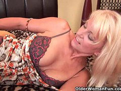 Preview 2 of Granny In Stockings Fucks Herself With A Dildo