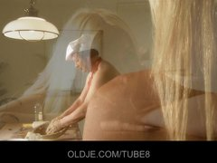 Preview 8 of Old Baker Gets A Special Blowjob From A Sexy Blonde Babe