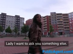 Preview 1 of Publicagent Hot Brunette Wife Fucking A Stranger In A Car Park