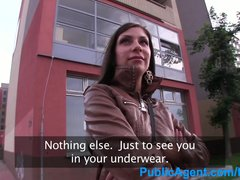 Preview 2 of Publicagent Hot Brunette Wife Fucking A Stranger In A Car Park
