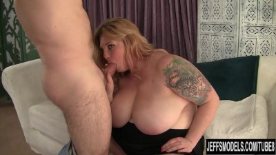 Big titted blonde gets her pussy licked so good. She sucks his super hard c