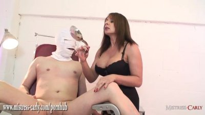 Busty nurse Mistress fits spunk pump to slaves cock and fucks his tight ass