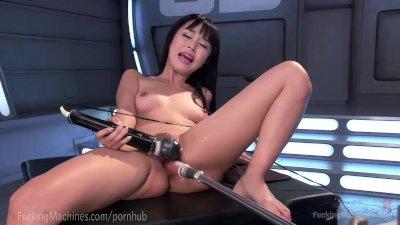Cute Asian Fucks Dildo Machines