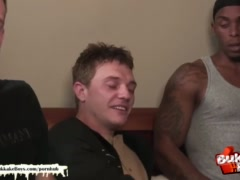Cute twink gets his first interracial bareback gangbang - Bukkake Boys!
