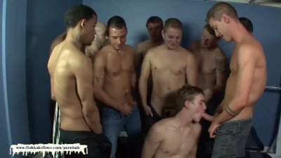 Bareback Gangbang and Facial Cumshots in the Gym for Bukkake Boy