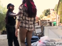 Homeless chick gets fucked by ebony cop