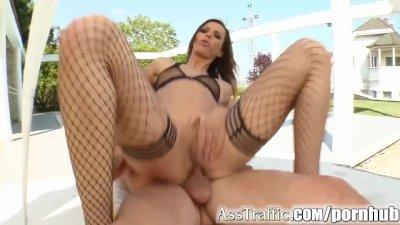 Ass Traffic Bound Alexandra is ass fucked and her butt gets jizzed.
