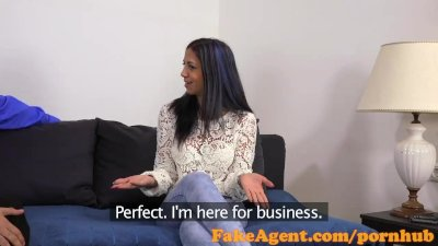 FakeAgent Horny Spanish babe gets Jizz on her pussy in Casting