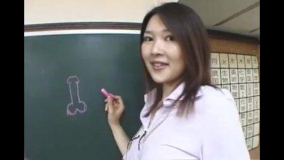 Subtitled Japanese Akira Watase classroom blowjob lecture