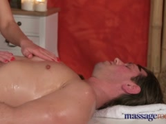 Preview 4 of Massage Rooms Athletic Brunette Model Sucks And Fucks Studs Fat Dick