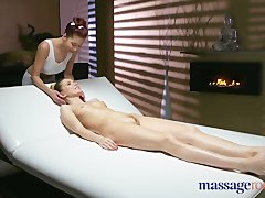 Preview 1 of Massage Rooms Russian Model Has Her Tight Hole Fucked By Asian Lesbian