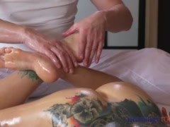 Preview 6 of Massage Rooms Hot Brunette Rims Stud Before She Has Squirting Orgasm