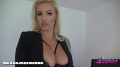 Blonde big tits secretary blackmails dirty office boss in her sexy lingerie