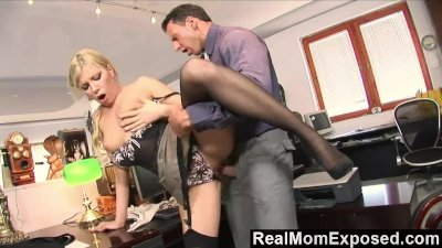 RealMomExposed - Caught with finger in pussy she gets fucked by the boss