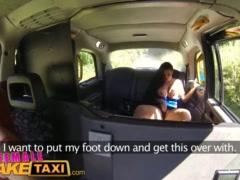 Preview 5 of Femalefaketaxi Lesbian Cab Driver Finger Fucks Tv Babe In Forest