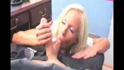 Hot blonde Eden Adams gives her prof a good blowjob