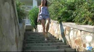 Adventurous teen Nansy poolside nudity