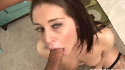 lovely brunette giving a good
