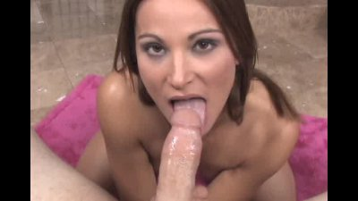 hot brunette Roxy Reed facialized after stroking and sucking her friends cock
