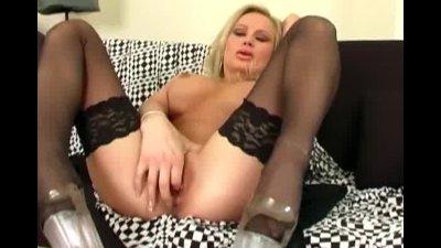 Blonde fingering her shaved pussy