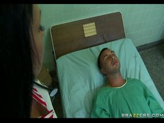 Sexy Nurse Aletta  who craves a cock in her ass  teases sleeping patient
