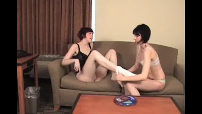 Two best friends playing strip