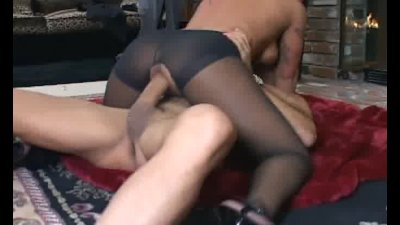 Busty brunette fucking in crotchless pantyhose