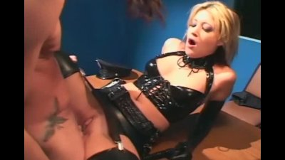 Uniformed female fucking in latex lingerie
