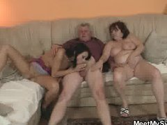 His GF is seduced by old mom and fucked by old daddy