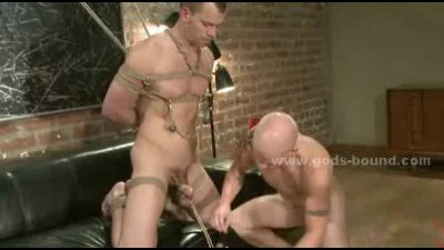 Good looking tatooed gay hunk bound tight gets spanked,whipped an