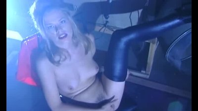 Paisley strips out of her latex and masturbates