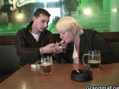 Totally drunk granny takes two cocks