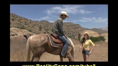 Lost Horny Young brunette slut fucks cowboy's big dick to orgasm