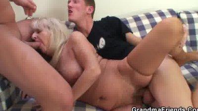 Drunk blonde granny in hot thr