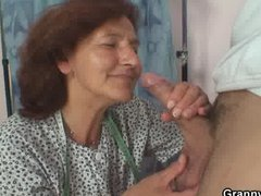 : Sewing granny jumps on fresh cock