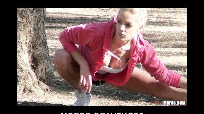 Horny bigtit young blonde slut