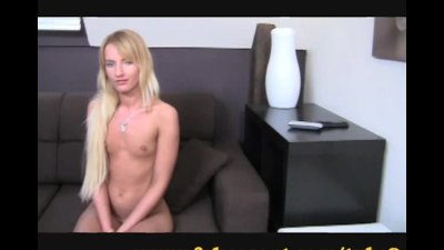 Shy blonde gets explored by a big dick in casting.
