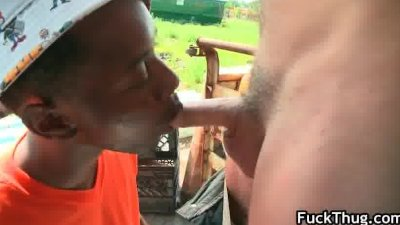 Black thug gets fucked up the poop shute part4