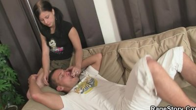 Rough gagging and pussy hammering