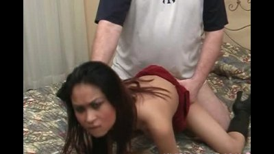 Sexy asian bitch gets cum on her titties