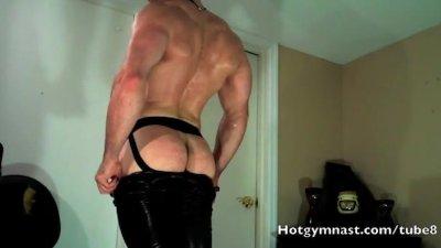 Leather CUM with muscle stud fin jockstrap