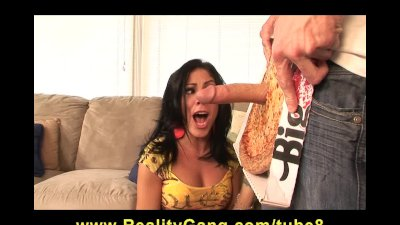 Hot bigtit brunette slut sucks  fucks pizza delivery guy's dick