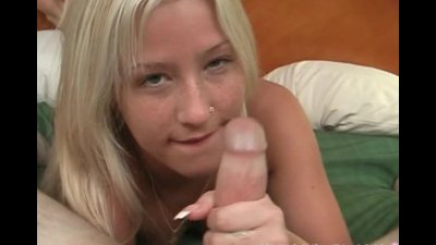 Blondie gets cum all over her