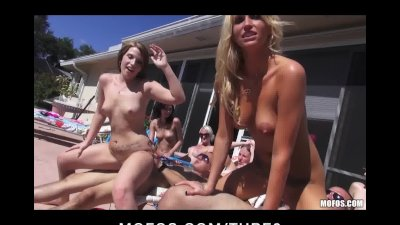 Three slutty girlfriends start a huge outdoor pool party orgy