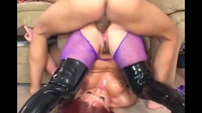 Katja fucking in shiny boots and fishnet pantyhose