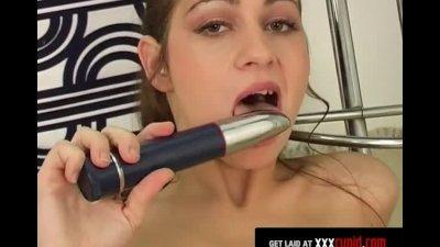 Brunette's Vibrator Makes Her