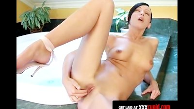 Brunette's Dildo Makes Her Scream